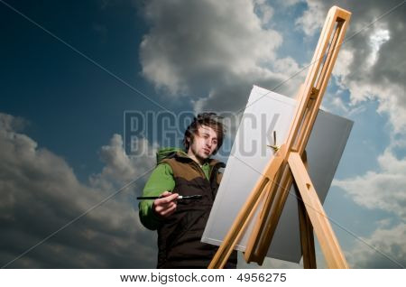 Young Artist Drawing Outdoors