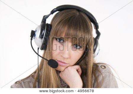 Pretty Female Model With Headphones