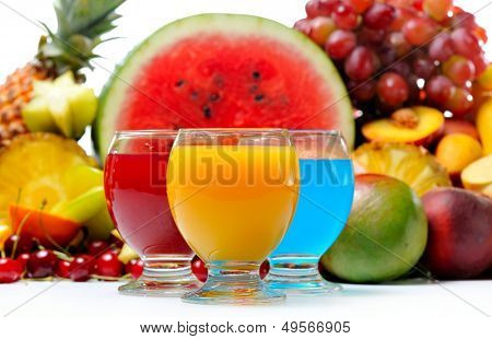 fresh various fruits and juice