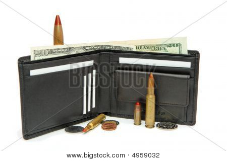 Black Wallet Money And Cartridges Isolated