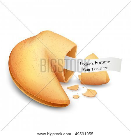 illustration of cracked fortune cookie with place on paper
