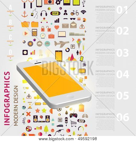 Business infographic template. Mobile phones technology. Diagrams and icons set. Numbered banners. Minimal style design for business graphic. Cutout lines and other website design elements.
