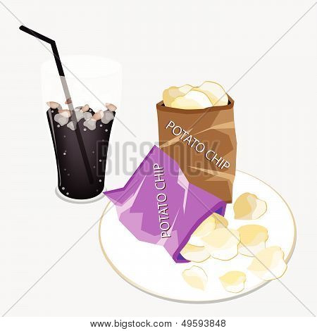 Open Bag Of Chips With A Delicious Iced Coffee