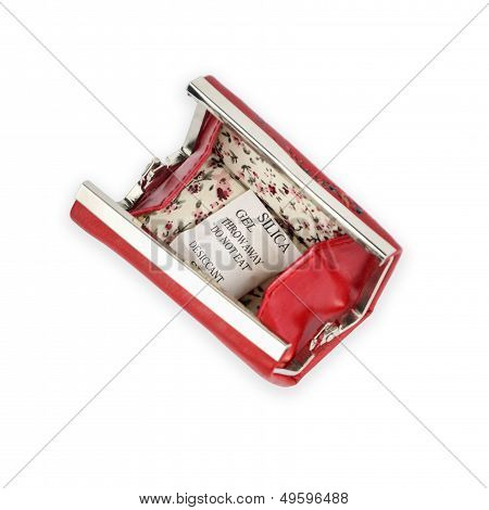 Red Opened Purse With Silica Gel