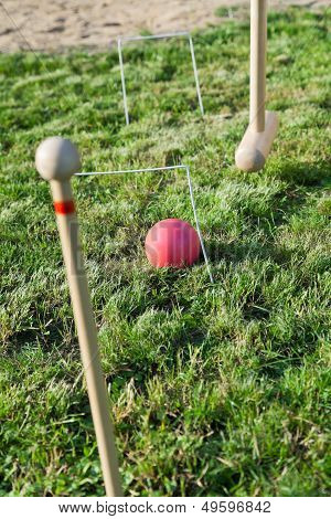 Game Of Croquet On Green Lawn