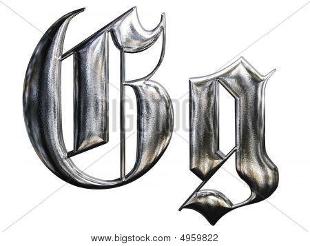Metallic Patterned Letter Of German Gothic Alphabet Font. Letter G