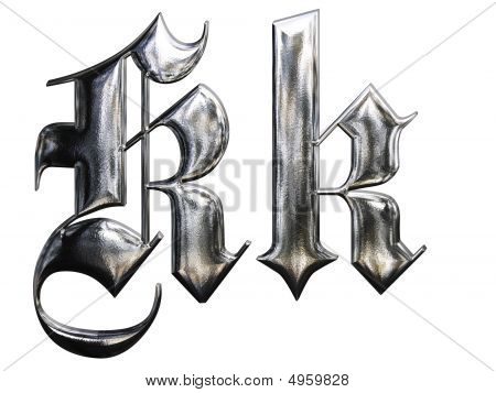 Metallic Patterned Letter Of German Gothic Alphabet Font. Letter K