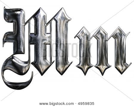 Metallic Patterned Letter Of German Gothic Alphabet Font. Letter M