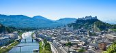 stock photo of mozart  - Panorama of the city of Salzburg in Austria - JPG
