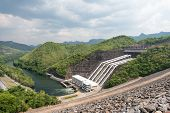stock photo of hydro-electric  - Large hydro electric dam in Thailand taken on a cloudy day - JPG
