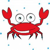 image of blue crab  - cute crab on white background with abstract bubbles - JPG