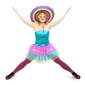 image of zumba  - Pretty showgirl with golden mask and colorful sombrero dressed in luxury retro costume - JPG