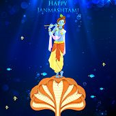 foto of lord krishna  - illustration of Krishna dancing on Kaliya naag - JPG