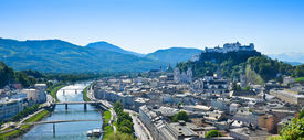 pic of mozart  - Panorama of the city of Salzburg in Austria - JPG
