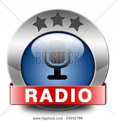 radio live stream on air Listen  music song audio or radio blue button or icon