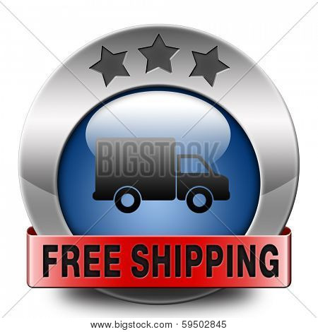 free delivery or package shipping from internet web shop order, webshop button or sticker blue red metal icon or button