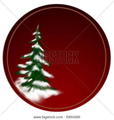 christmas tree or pine tree covered in snow on deep red background