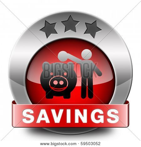 saving money in piggy bank deposit account with savings plan save cash online banking red icon