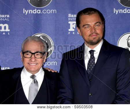 SANTA BARBARA - FEB 6:  Jonah Hill, Martin Scorsese, Leonardo DiCpario at the SBIFF Honors Scorsese & DiCaprio at Arlington Theater on February 6, 2014 in Santa Barbara, CA