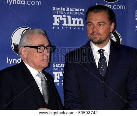 SANTA BARBARA - FEB 6:  Martin Scorsese, Leonardo DiCpario at the Santa Barbara International Film Festival Honors Scorsese & DiCaprio at Arlington Theater on February 6, 2014 in Santa Barbara, CA