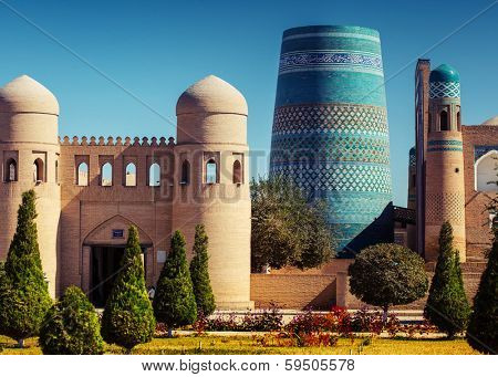 Western gate (Ata Darvoza) to ancient town of Itchan Kala. Khiva, Uzbekistan