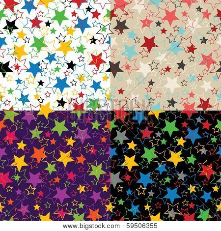 Stars Of Five Colors.set Of Seamless Ornament Or Background