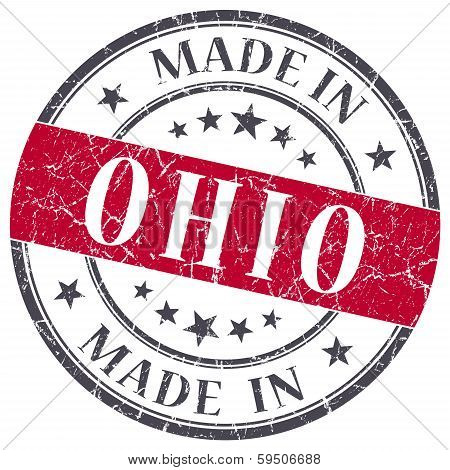 Made In Ohio Red Round Grunge Isolated Stamp