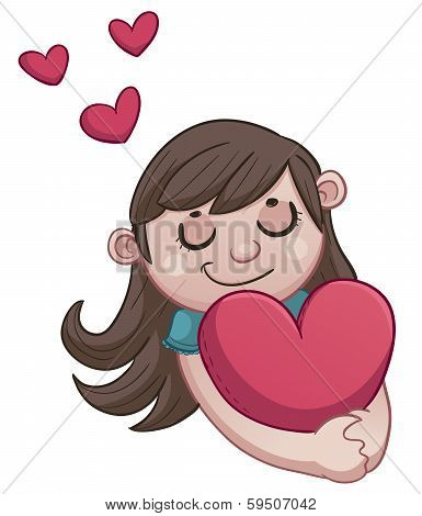 Girl in love holding a heart