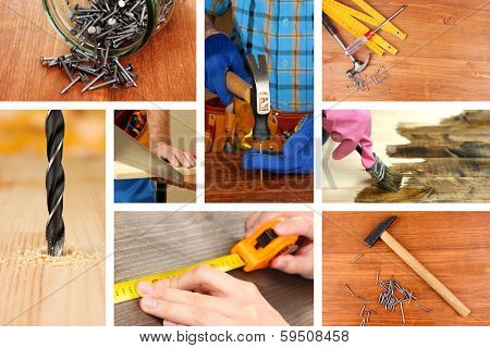 Collage of working man and carpentry tools