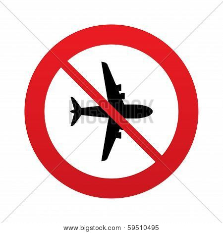 No Airplane sign. Plane symbol. Travel icon.