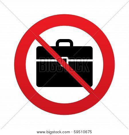 No Case sign icon. Briefcase button.