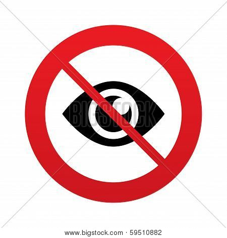 No look. Eye sign icon. Publish content button.