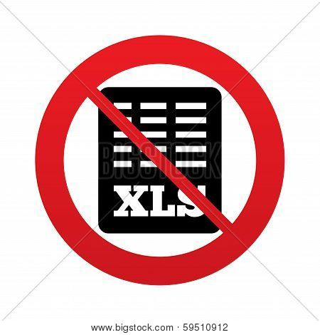No Excel file document icon. Download xls button.