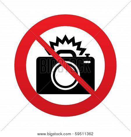 No Photo camera sign icon. Photo flash symbol.