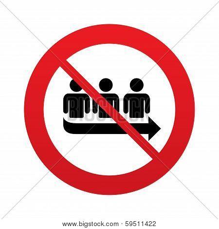No Queue sign icon. Long turn symbol.