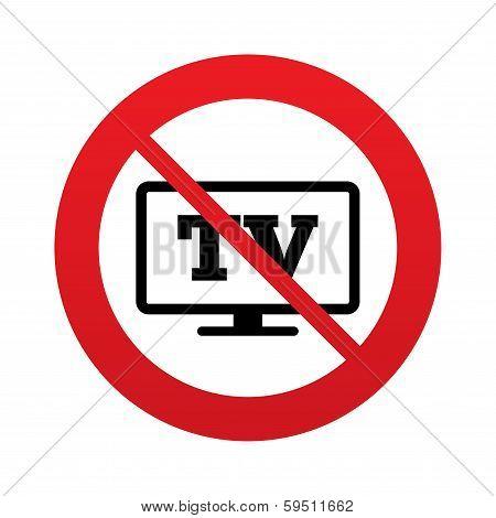 No Widescreen TV sign icon. Television set symbol.