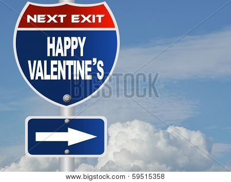 Happy valentine's road sign