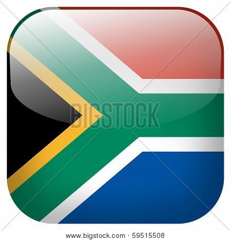 South Africa National Flag Square Button Isolated On White Background