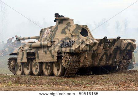 Kiev, Ukraine - November 3: German tank (replica) is displayed on the Field of Battle military history festival on November 3 , 2013 in Kiev, Ukraine