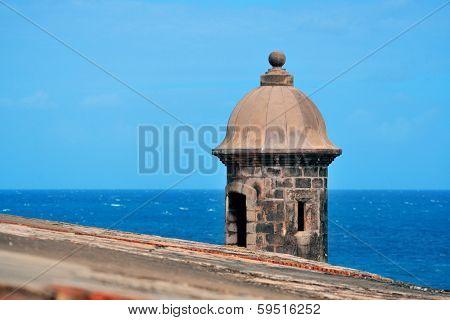Watch tower in El Morro castle at old San Juan, Puerto Rico.