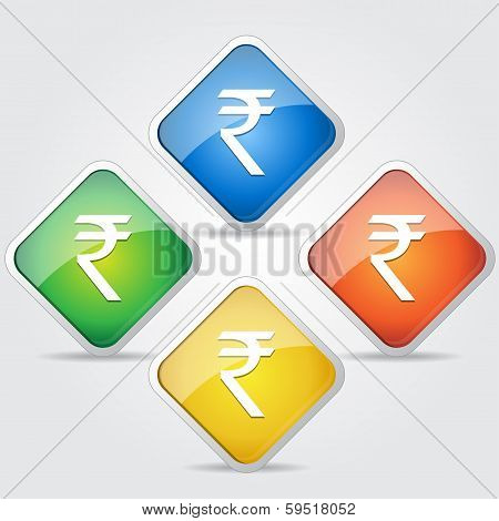 Glossy Indian Rupee Sign Button Icon