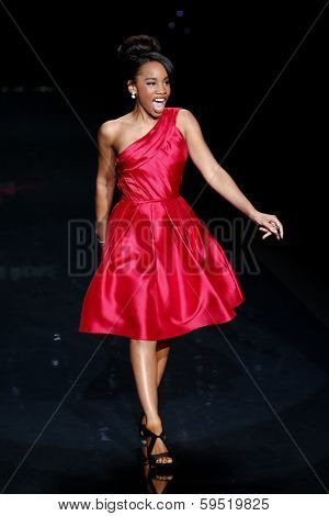 NEW YORK-FEB 6: Actress Anika Noni Rose wears Pamella Roland at The Heart Truth Red Dress Collection show during Mercedes-Benz Fashion Week at Lincoln Center on February 6, 2014 in New York City.