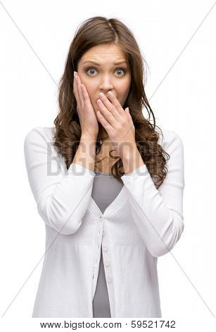 Half-length portrait of shocked woman putting hands on head and mouth covering, isolated on white