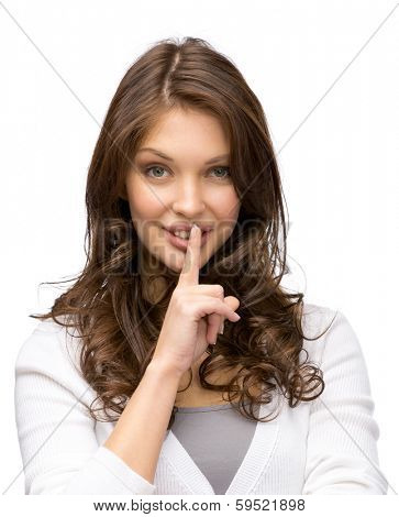 Portrait of woman who silence gestures, isolated on white. Concept of secret and mystery