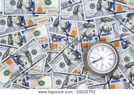 American 100 Dollar Bills With A Vintage Watch