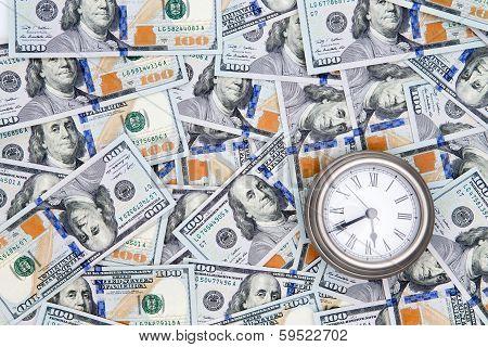 American 100 Dollar Bills With A Vintage Watch