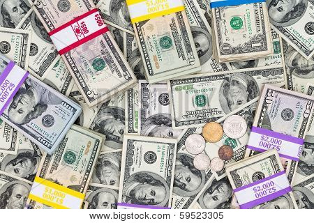 Bundles Of Different Denomination Dollar Bills