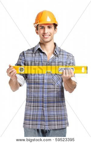 Half-length portrait of foreman in range helmet handing geodetic level, isolated on white. Concept of restoration and engineering
