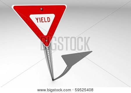 Yield Sign Over A Bright Background