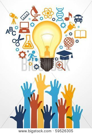 Creative bulb with school icons and human hand. Concept learning. The study of science. his work - eps10 vector file, contain transparent elements and mesh gradients